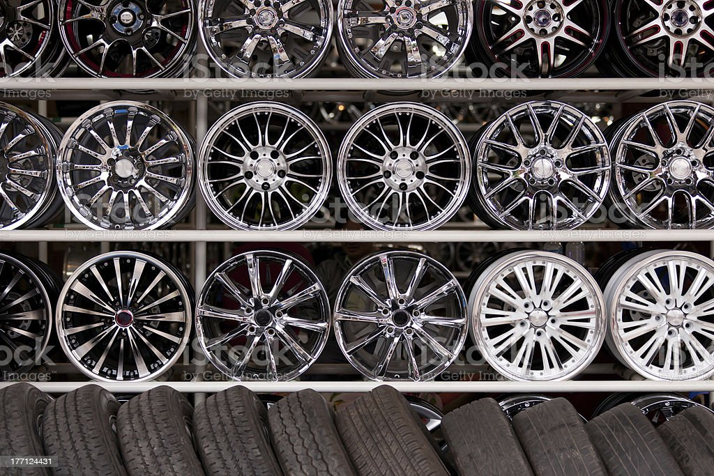 alloy car wheels wall stock photo