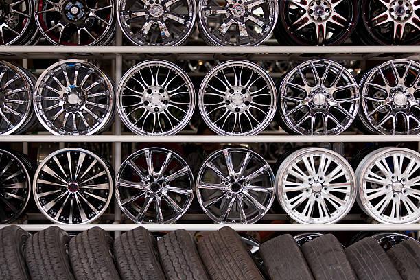 alloy car wheels wall stock photo