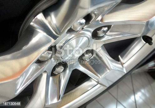 istock alloy wheel - Car rim on tire close up 187130548