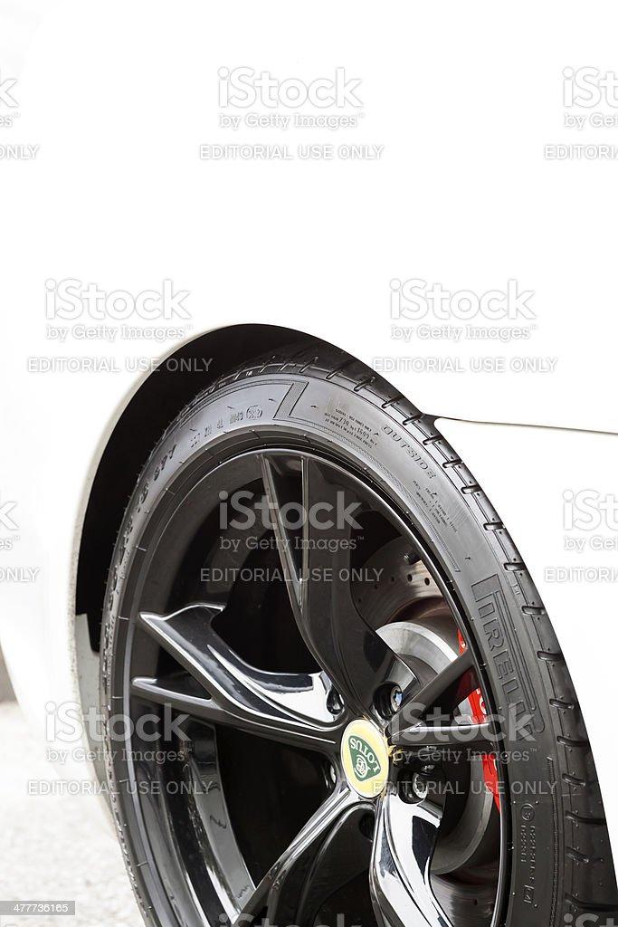 Alloy wheel of white Lotus car, copy space stock photo