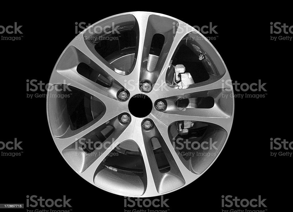 Alloy wheel on black stock photo