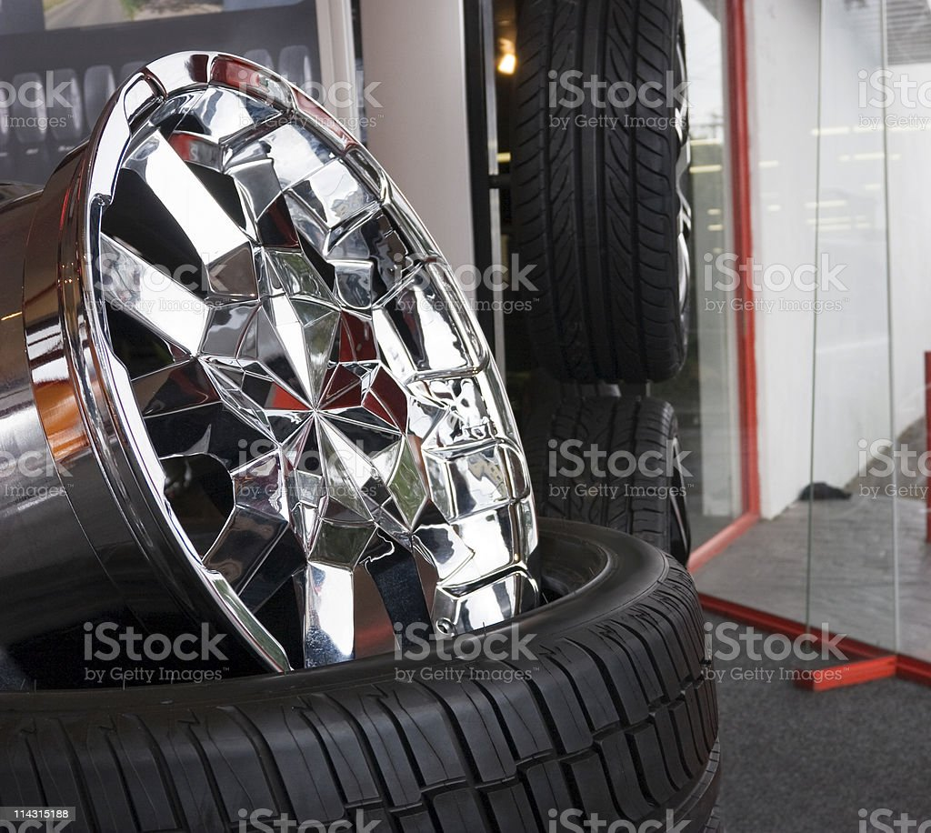 Alloy wheel on display royalty-free stock photo