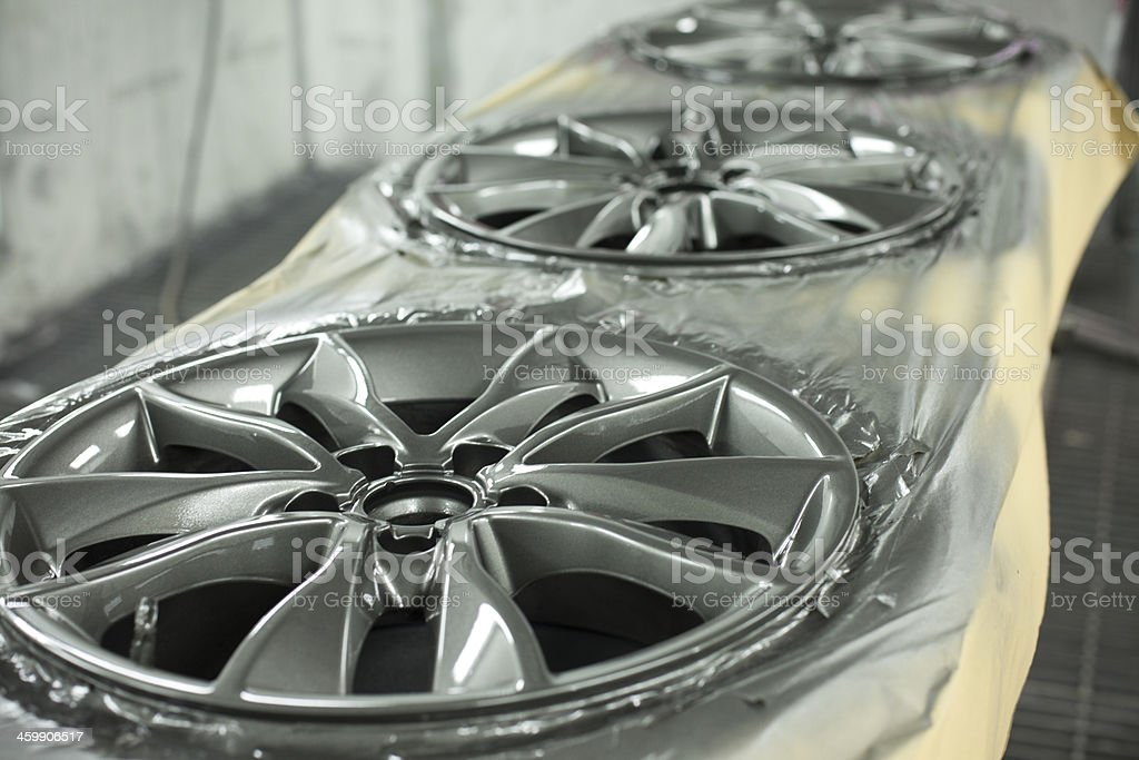 Alloy wheel refurbishment stock photo
