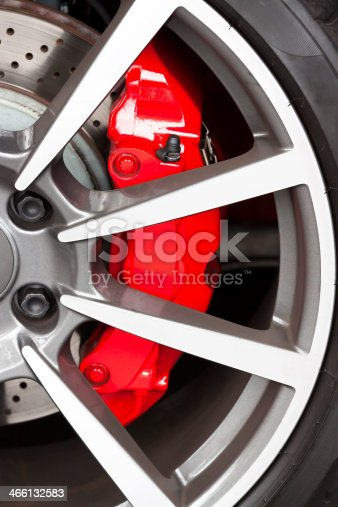 istock Alloy wheel with red carbon ceramic brake 466132583