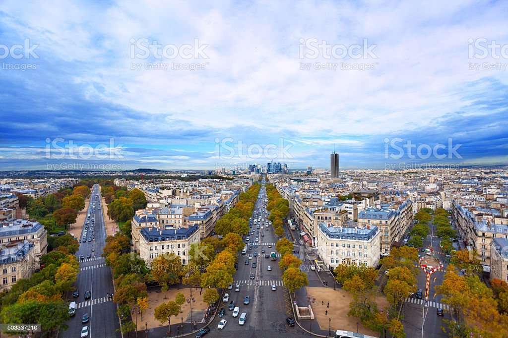All-round view from Arc de Triumph stock photo