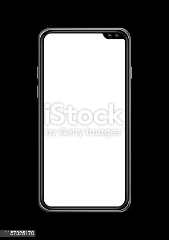 istock All-screen blank smartphone mockup isolated on black. 3D render 1157325170