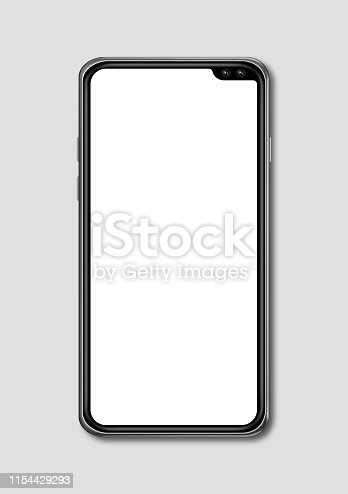 istock All-screen blank smartphone mockup isolated on grey. 3D render 1154429293