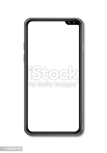 istock All-screen blank smartphone mockup isolated on white. 3D render 1140606705