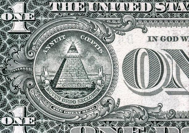 all-seeing eye op de een dollar. nieuwe wereldorde. elite tekens. 1 dollar. - amerikaanse zangers stockfoto's en -beelden