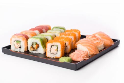 Allsorts sushi isolated on white
