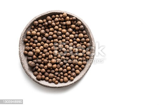 Allspice also Jamaica pepper dried berries isolated on white background, Pimenta dioica