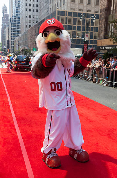 All-star game red carpet New York, USA - July 16, 2013: Washington Nationals mascot Screech poses on red carpet during the MLB All-Star Game Red Carpet Show along 42nd street on July 16, 2013 in New York major league baseball stock pictures, royalty-free photos & images
