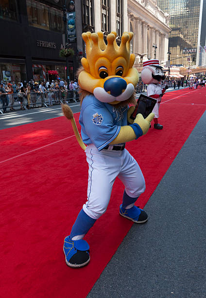 All-star game red carpet New York, USA - July 16, 2013: Kansas City Royals mascot Sluggerrr poses on red carpet during the MLB All-Star Game Red Carpet Show along 42nd street on July 16, 2013 in New York major league baseball stock pictures, royalty-free photos & images