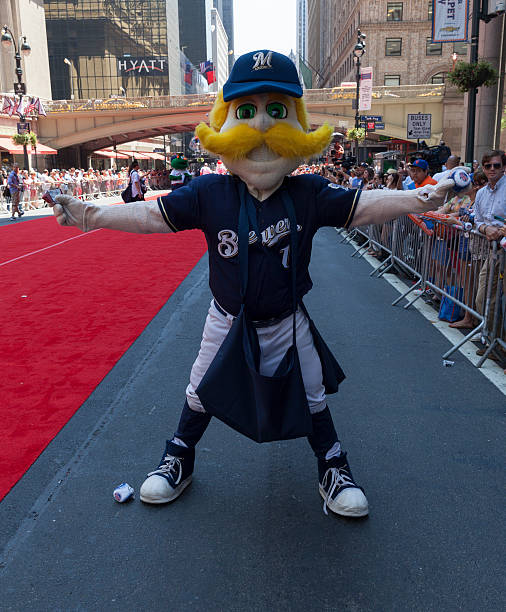 All-star game red carpet New York , USA - July 16, 2013: Milwaukee Brewers mascot Bernie Brewer poses on red carpet during the MLB All-Star Game Red Carpet Show along 42nd street on July 16, 2013 in New York major league baseball stock pictures, royalty-free photos & images