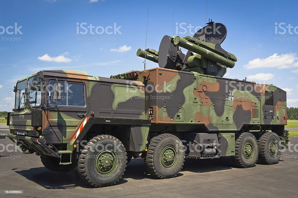 All-terrain truck with  short-range air missile royalty-free stock photo