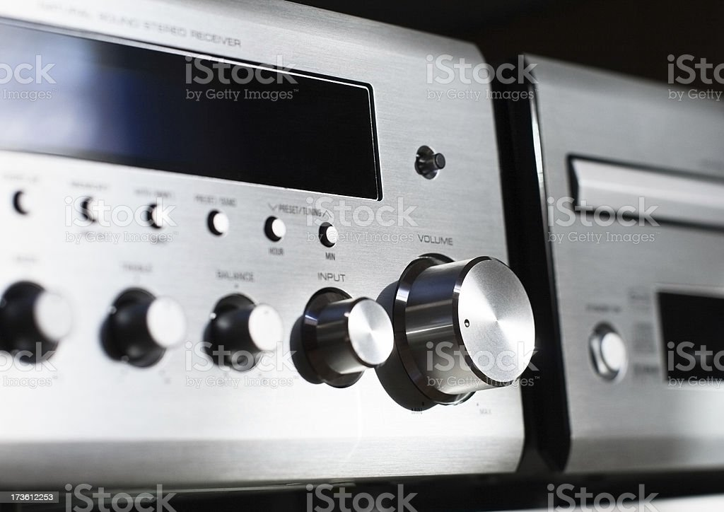 Alluminium front of home Hi-Fi with knobs and buttons stock photo