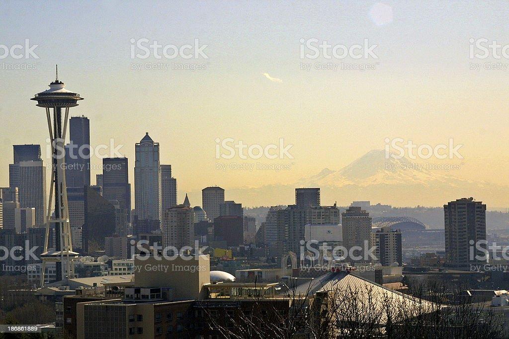 Alluring Seattle skyline with Mt. Rainier royalty-free stock photo