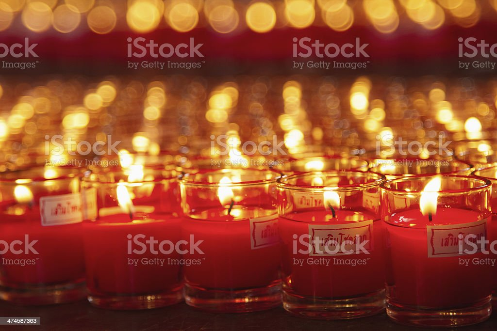 Allusions Red Candles at a Buddhist temple royalty-free stock photo