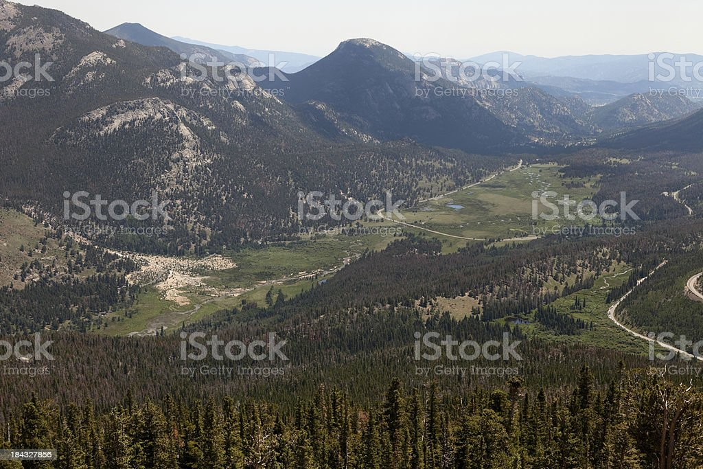 Alluvial Fan and Valley, from Rainbow Curve in Colorado stock photo