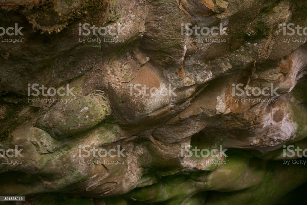 Alluviation deposits inside a cave stock photo