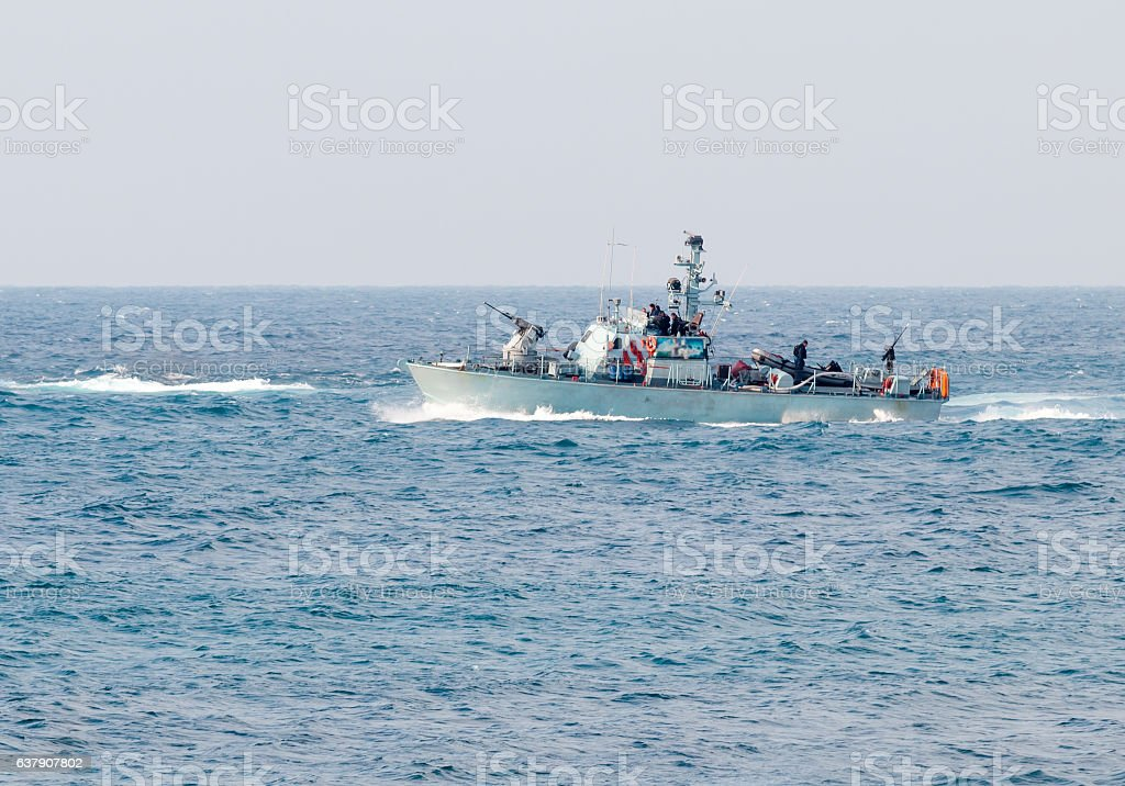 All-weather patrol boats patrol near shore of the country stock photo