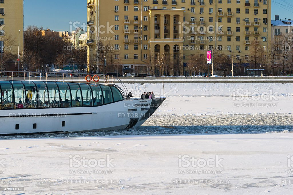 All-year tourist river navigation in Moscow stock photo