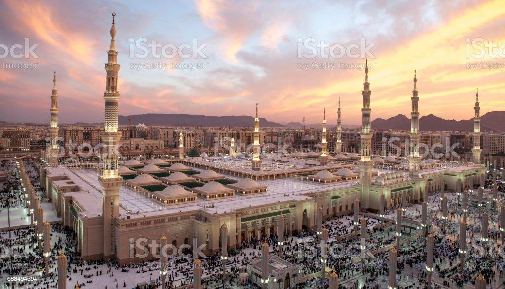 Al-Masjid An-Nabawi Sunset at Al-Masjid An-Nabawi Al-Masjid an-Nabawi Stock Photo