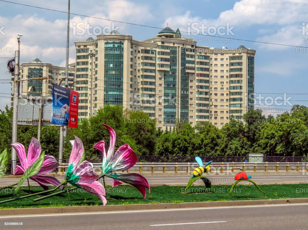 Almaty - Architecture along Abay avenue stock photo