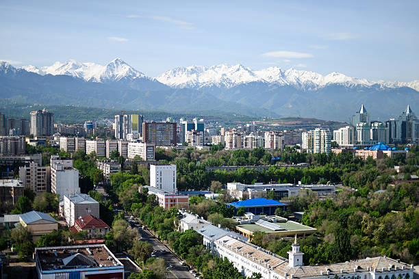 Almaty City Panorama Panoramic view over the Skyline from Almaty City (Kazakhstan). kazakhstan stock pictures, royalty-free photos & images