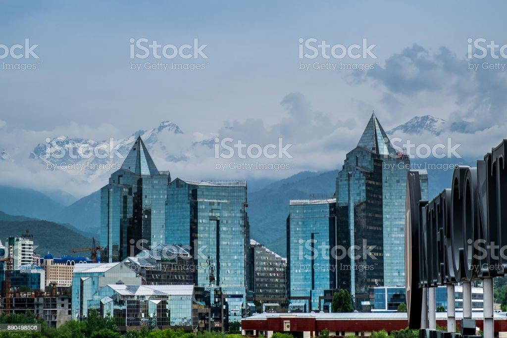 Almaty city Panoramic aerial view stock photo