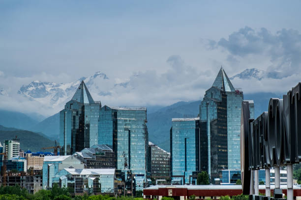 Almaty city Panoramic aerial view stock photo