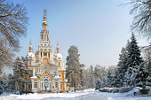 Russian Orthodox cathedral located in Panfilov Park in Almaty, Kazakhstan. Completed in 1907, it is the second tallest wooden building in the world.