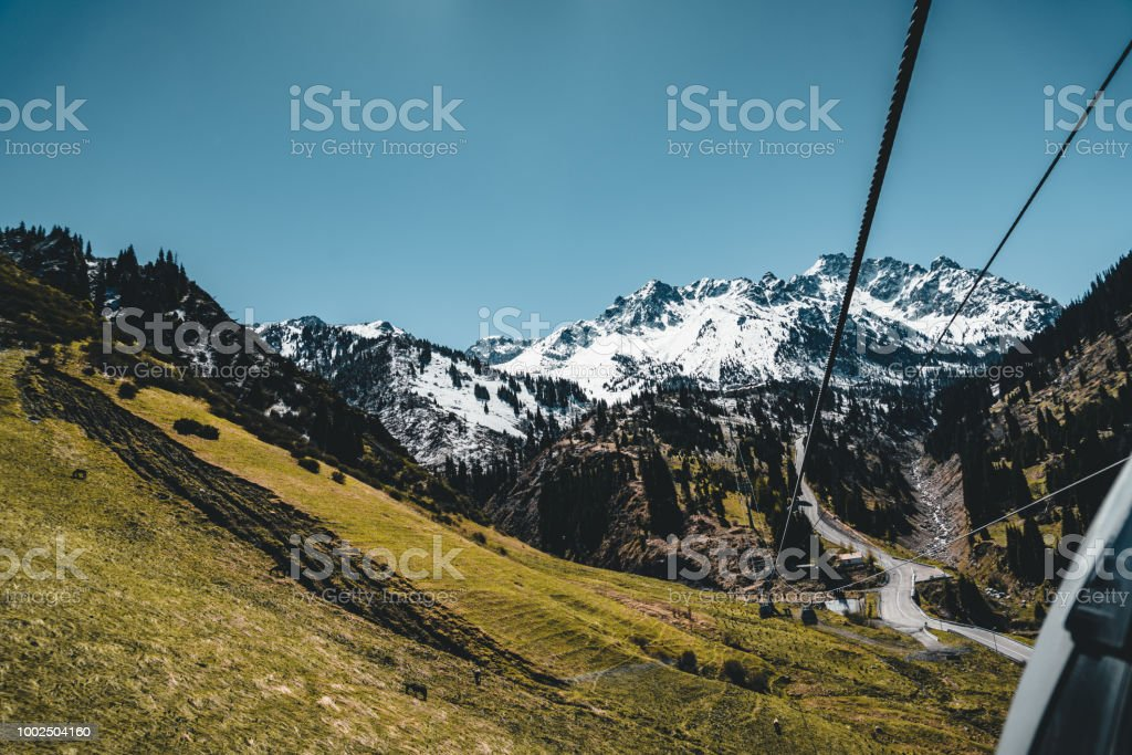 Almaty Kazakhstan Ski Lift Cable Car Cabin At Medeo To Shymbulak Route Against Mountain