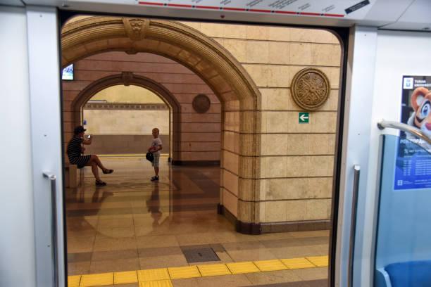 almaty metro - bikonur - almaty metro wiedenmeier stock-fotos und bilder