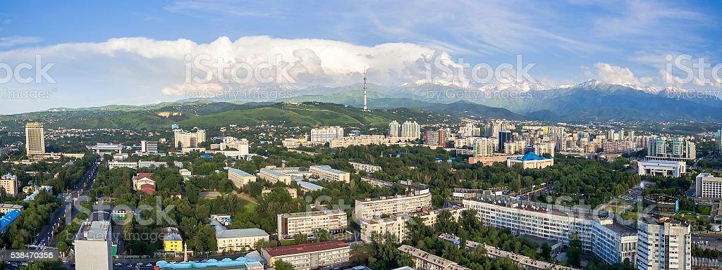 Almaty - Panoramic aerial view stock photo