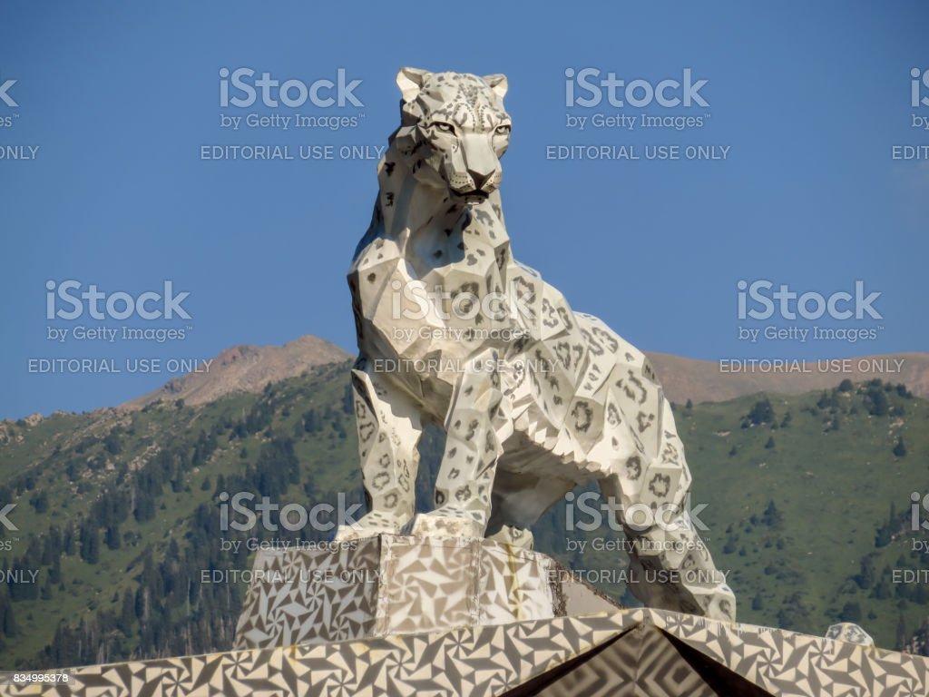 Almaty - statue of a snow leopard stock photo
