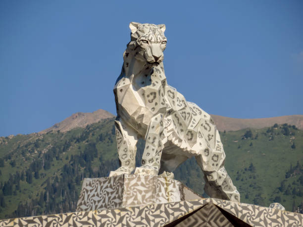 Almaty - statue of a snow leopard stock photo