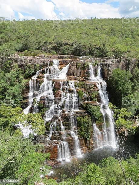 Almecegas Waterfall Chapada Dos Veadeiros Goias Brazil - Fotografie stock e altre immagini di Acqua - iStock