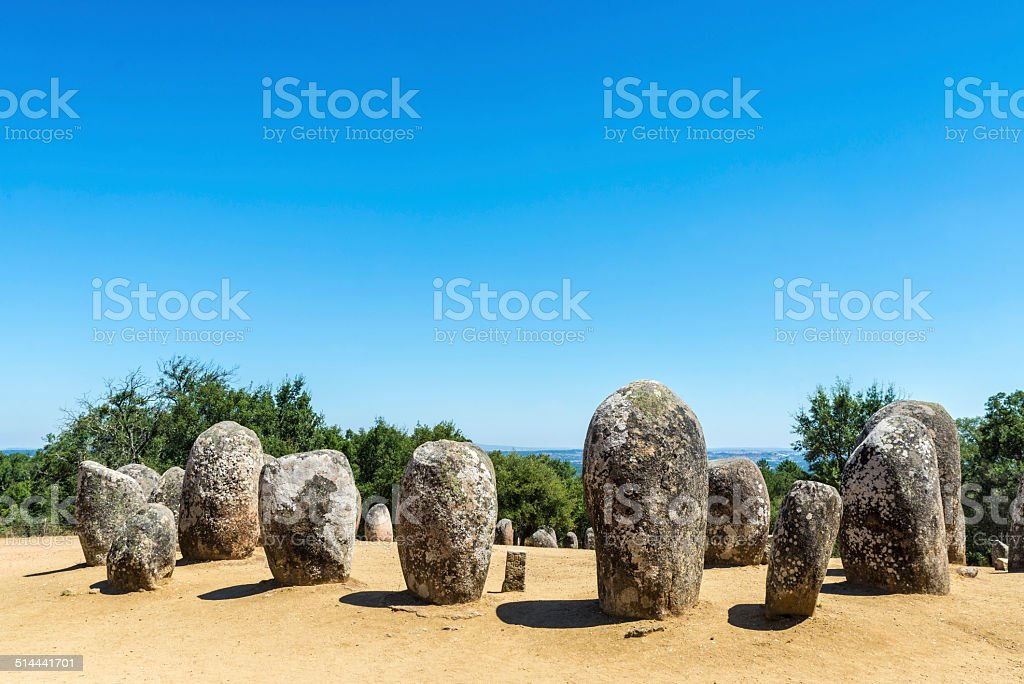 Almendres megalithic complex, Portugal stock photo