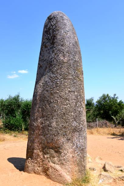 Almendres menhir - single standing stone, Évora, Alentejo, Portugal stock photo