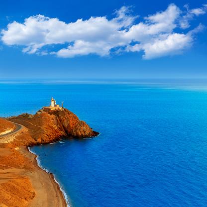 Almeria Cabo de Gata lighthouse sunset in Mediterranean sea of Spain
