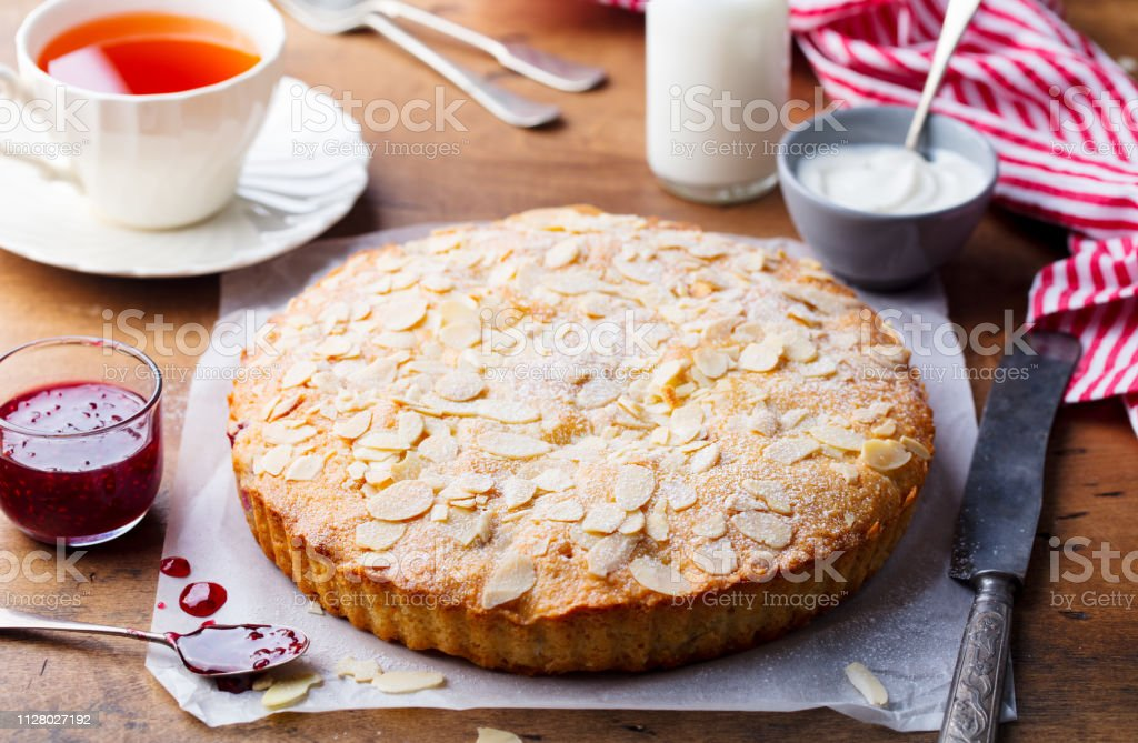 Almond and raspberry cake, Bakewell tart. Traditional British pastry....