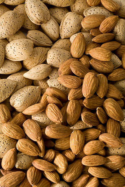 Almond background stock photo