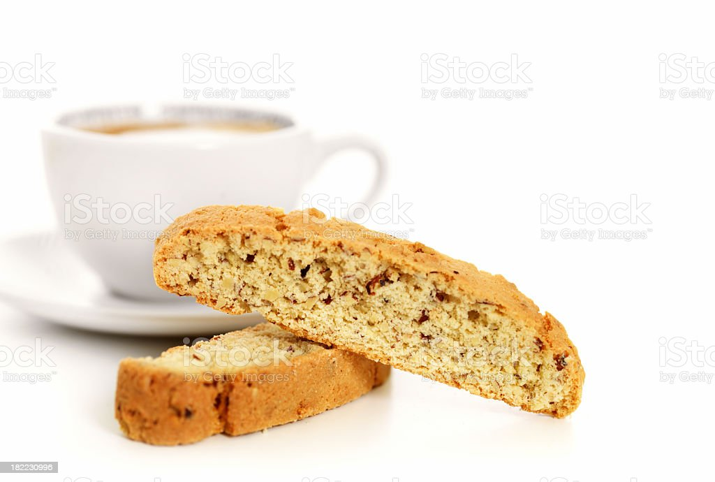 Almond biscotti and coffee stock photo