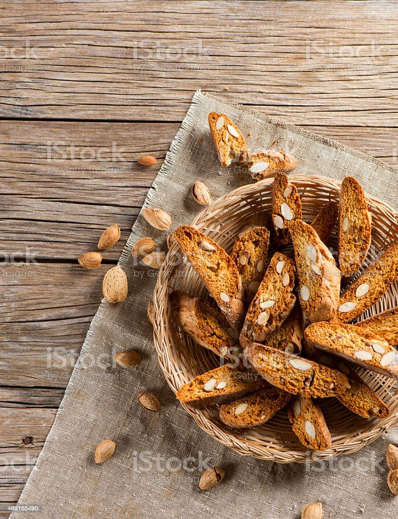 Almond Biscotti, top view stock photo