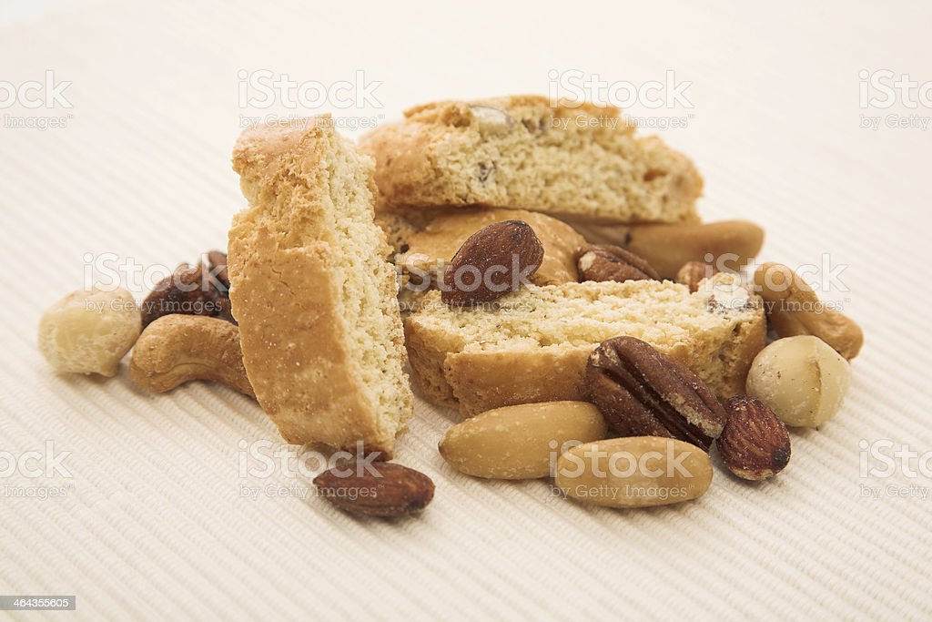 Almond Biscotti with roasted nuts royalty-free stock photo
