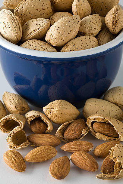 Almond bowl stock photo