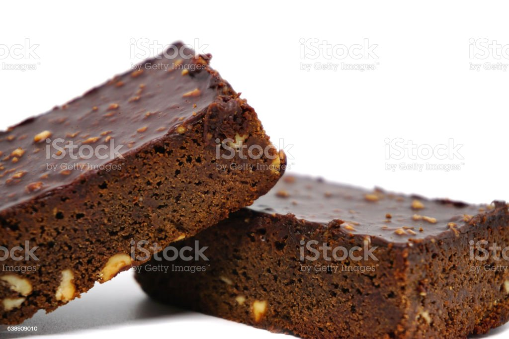 Almond chocolate brownie on white background stock photo