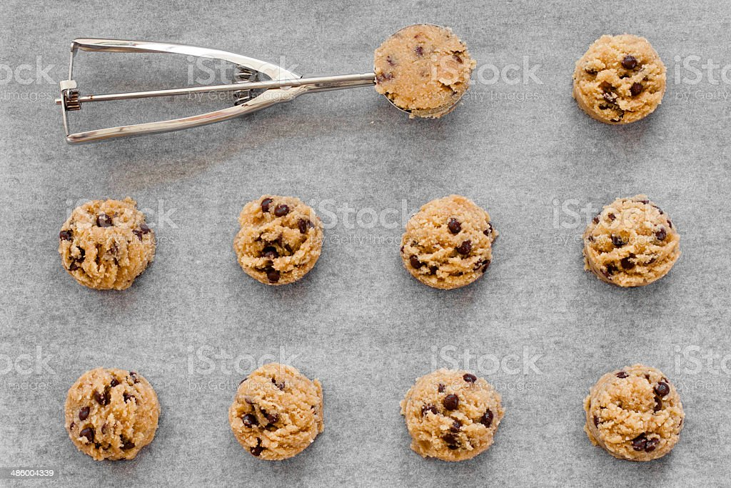 Almond chocolate chip  dough in a row stock photo