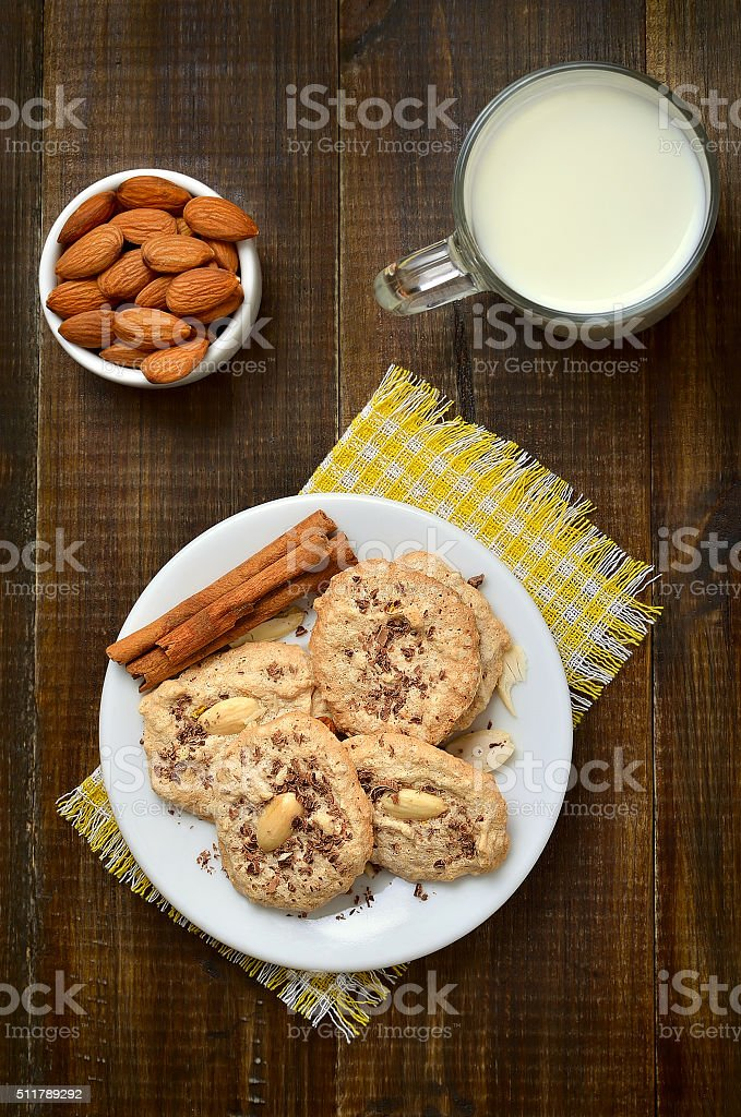 Almond cookies on white plate stock photo